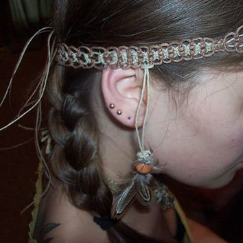 Hippie Indian Native American feather hemp headband- hemp accessories, music festivals, natural, macrame