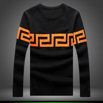 Mens Slim Patterned Pullover Sweater