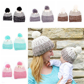 2x Mom Mother+Baby Knit Hat Kids Girls Boys Winter Warm Beanie Cap Fashion HU