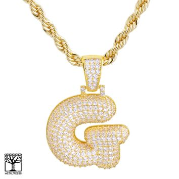 "Jewelry Kay style G Initial Custom Bubble Letter Gold Plated Iced CZ Pendant 24"" Chain Necklace"