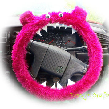 Faux fur Pink fuzzy Monster car steering wheel cover fluffy furry car accessories