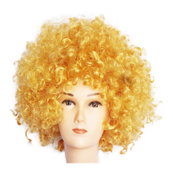 Fashion Afro Cosplay Curly Clown Party 70s Disco Cosplay Wig Cheering Squad Clown   Gold