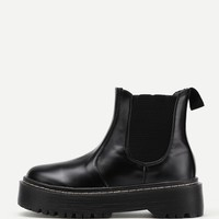 Round Toe Elastic PU Ankle Boots