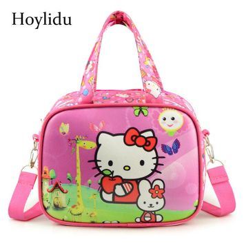 Cartoon Cute Hello Kitty Handbags Crossbody Bags For Women Waterproof Children Pink Shoulder Flap Tote Casual Kids Lunch Bag