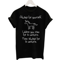 2016 Harajuku Black T-shirt Women Ladies Tops Unicorn Letter Print Casual Funny T Shirts Tee Shirt Femme Loose