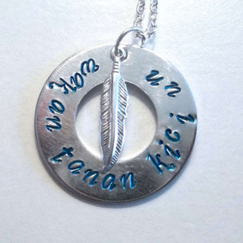 """Hand Stamped Jewelry Native American Inspired Necklace """"May the Great Spirit Bless You"""", spiritual necklace, sioux, silver and blue necklace"""