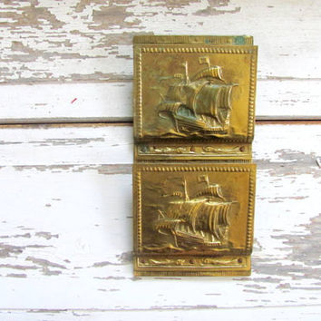 20% OFF SALE..Vintage hanging brass letter and bill holder organizer / sailboat nautical theme