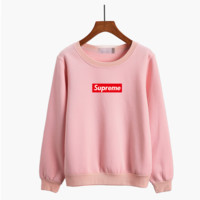 """Supreme"" Women Casual Logo Letter Print Thickened Long Sleeve Sweater Tops"