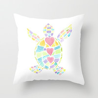Baby Turtle Love Throw Pillow by Catherine Holcombe