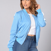 Good Sport Bomber Jacket - Dusty Blue/White