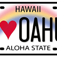 I Love Oahu License Plate - Hawaiian Art Decal - Car Window Bumper Sticker