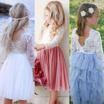 US Stock Toddler Kids Baby Girls Lace Backless Party Bridesmaid Pageant Dress