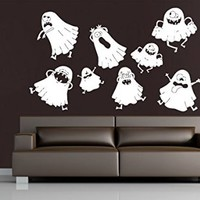 Wall Decals Happy Halloween Ghost Decal Vinyl Sticker Home Art Bedroom Home Decor Art Mutal Room Decor Wall Art Halloween Party Decor MS609
