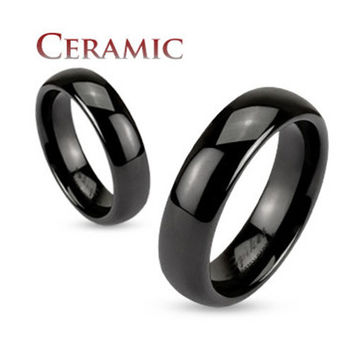 Black Ceramic Dome 6mm Traditional Wedding Band Men's Ring