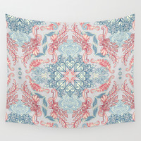 Vintage Fancy - a Pattern in Pale Blue, Navy & Deep Rose Wall Tapestry by Micklyn