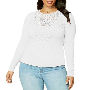 White Long Sleeves Plus Size Crochet Lace Top