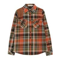 Womens Flannel Shirt - Orange / Olive Green / Camouflage