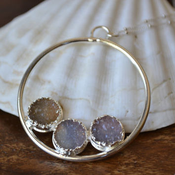 CIRCLE Of LIFE /// Druzy Hoop Necklace /// Fine Silver Electroformed Pendant