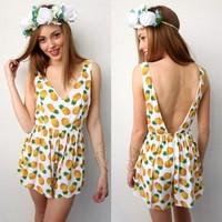 FESTIVAL PINEAPPLE PRINTS BACKLESS SCOOP LOW BACK PLAYSUIT JUMPSUIT 6 8 10 12