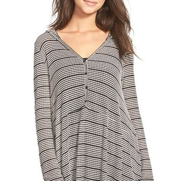 Junior Women's Lush Stripe Hooded Henley Top,