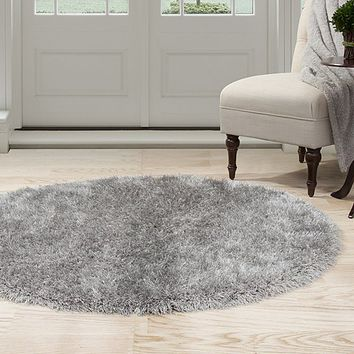 Lavish Home Shag Area Rug - Grey - 5' Round