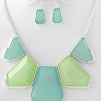 Green/Blue Statement Necklace & Earring Set