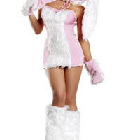 Pink Faux Fur Bunny Costume
