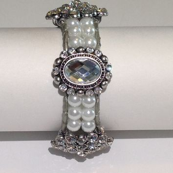 Handmade Bracelet with Glass Pearls and Bling