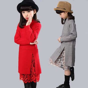 Crochet Girls Dress European Cotton Lace Knitted Dress Kids Formal Pink Beautiful Dresses For Children New Trendy Clothing Girls