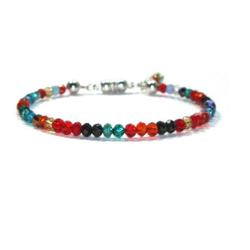 Swarovski Crystal Bracelet , Multi Color Swarovski Crystals , Gift For her