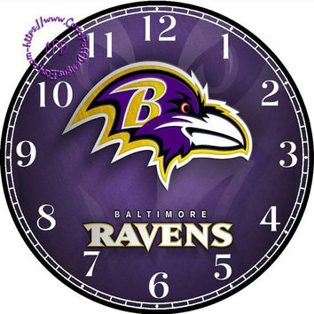 """Baltimore Ravens Sports Team Art - -DIY Digital Collage - 12.5"""" DIA for 12"""" Clock Face Art - Crafts Projects"""