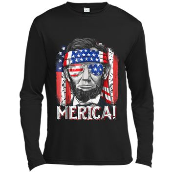 4th of July  for Men Merica Abe Lincoln Boys Kids Gift Long Sleeve Moisture Absorbing Shirt