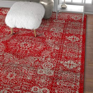 6120 Red Medallion Vintage Distressed Area Rugs