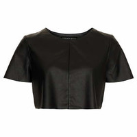 PETITE LEATHER LOOK CROP TEE