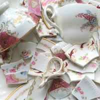 FREE SHIPPING/60 Vintage China Floral Tiles and Teacup Focals/Hand Cut Mosaic Tiles/Art Deco/DIY Shabby Chic
