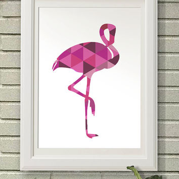 Hipster Flamingo, Digital Art Download, Digital Drint, Canvas Art, Art Print, Large Painting, Instant Download, 8x10