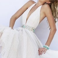 Low V-Neck Halter Top Ball Gown by Sherri Hill