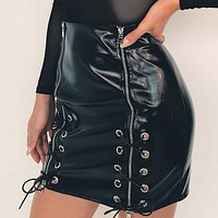 Women Solid Color Fashion Irregular Bandage Zip PU Leather Short Skirt