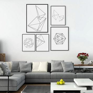 Minimalist Black Geometric Shape A4 Large Poster Print Modern Abstract Wall  Art Picture Hipster Nordic Home