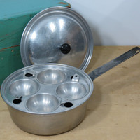 Vintage Wear Ever Egg Poacher Pot 2424 . Aluminum Poached Egg Pan . Made in U.S.A. Circa . Mid Century Wearever Cooking . Egg Poaching Pan