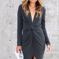 Viktoria Front Twist Charcoal Dress