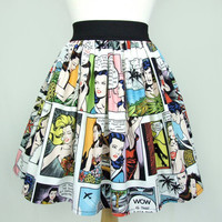 On SALE!!!! Pinup Comic Strip  Skirt  Vintage Inspired Skirt LT White