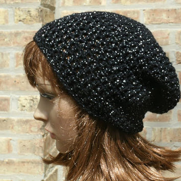 Slouchy Hat - The Eden in Black Sparkle - Crochet Beanie - Womens Hat - Gamer Hat - Women Slouchy Hat