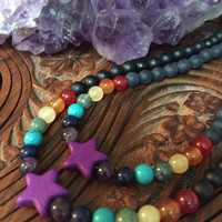 STAR CHILD Rainbow Necklace Howlite Amethyst Sodalite Turquoise Moss Agate Honey Jade Carnelian Agate Onyx Toddler or Adult Size