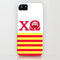 Chi Omega Red & Yellow Stripes (Owl) iPhone & iPod Case by SororityProject