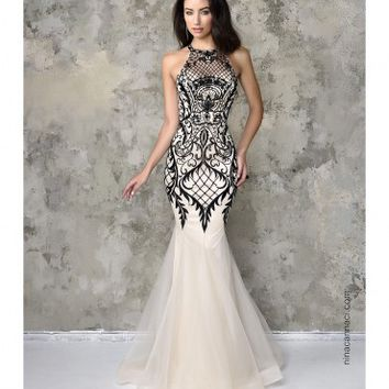 Nina Canacci 4101 Ivory & Black Mermaid Lace Long Dress 2016 Prom Dresses