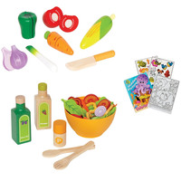 Hape 3118 Garden Vegetables and 3116 Green Salad Play Food with Coloring Book