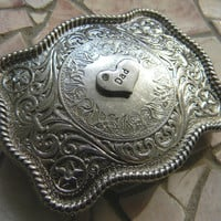 Dad Belt Buckle, Men's Silver Belt Buckle, Fathers Day Gift For Dad, New Dad, Dad To Be, Daddy Gift, Mens Western Custom Belt Buckle