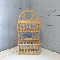 Vintage, Small, Boho, Wicker, Shelves, Baskets, Hanging, Shelf Unit, Two Tier, Decorative, Hanging, Display, Spice Rack, RhymeswithDaughter