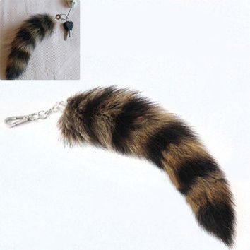 ac spbest Cute Fox Racoon Tail Keychain Fur Pendant Key Chain Bags Charm Keys Holder Couple Keyrings  KQS8